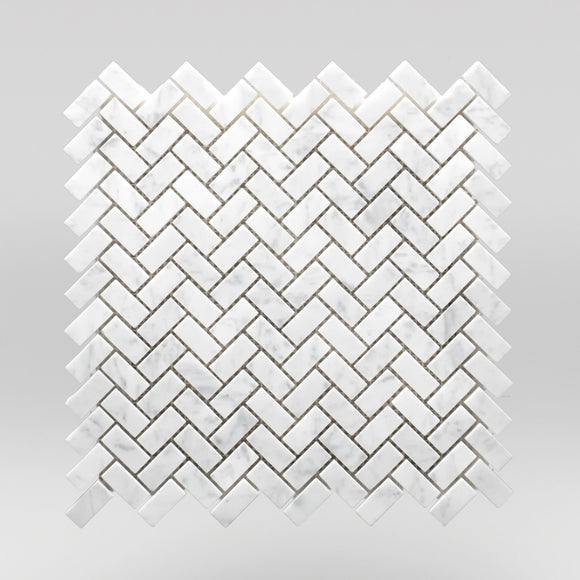 White Carrara Polished Mini Herringbone - BigAppleMarble.com