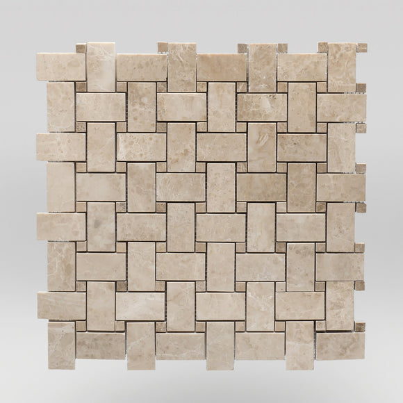Bursa Beige Polished Basket Weave with Light Emperador Dots Marble Mosaic BigAppleMarble.com