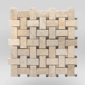 Cappuccino Polished Basket Weave with Light Emperador Dots | Marble Mosaic | BigAppleMarble.com