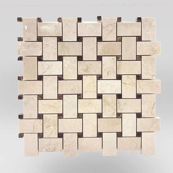 Crema Marfil Select Polished Basket Weave with Dark Emperador Dots