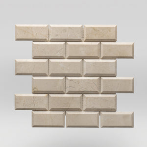 "Crema Marfil Select Polished, Bevelled 2""x4"" 