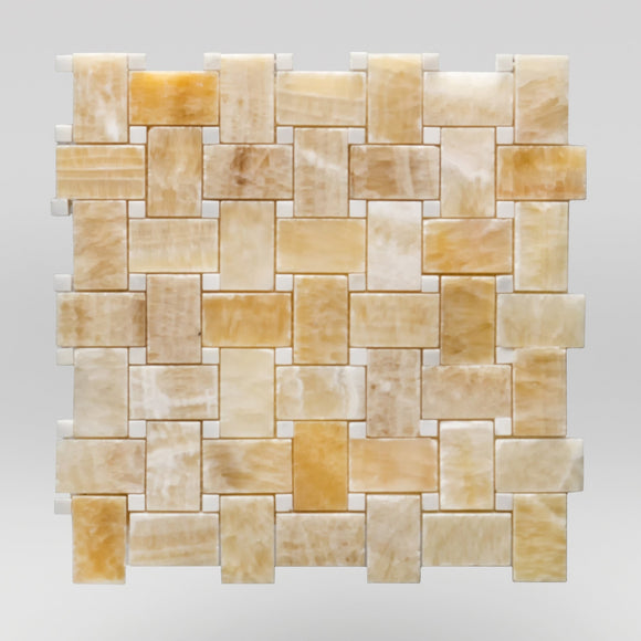 Honey Onyx Polished Basket Weave with White Dots Marble Mosaic Basket Weave with White Dots / Basket Weave with White Dots BigAppleMarble.com