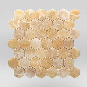 "Honey Onyx Polished Hexagon 2"" Marble Mosaic 2"" / Hexagon BigAppleMarble.com"