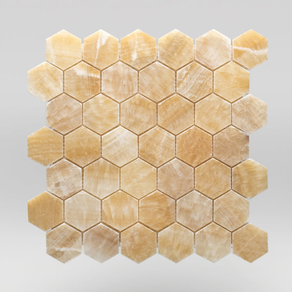 Honey Onyx Polished Hexagon 2