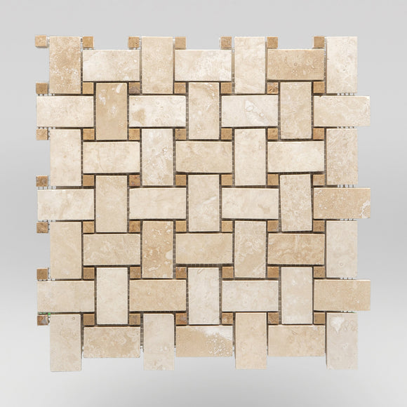 Ivory (White) Travertine Honed Basket Weave with Noce Travertine Dots Travertine Mosaic Basket Weave with Noce Travertine Dots / Honed / Basket Weave with Noce Travertine Dots BigAppleMarble.com
