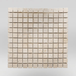 "Ivory (White) Travertine Tumbled 1""x1"" Travertine Mosaic 5/8""x5/8"" / Tumbled / Square BigAppleMarble.com"