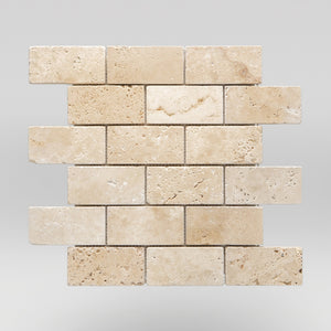 "Ivory (White) Travertine Tumbled 2""x4"" Travertine Mosaic 2""x4"" / Tumbled / Brick BigAppleMarble.com"