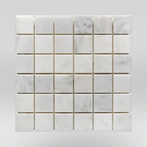 "Oriental White/Eastern White Honed 2""x2"" Marble Mosaic 2""x2"" / Square / Honed BigAppleMarble.com"