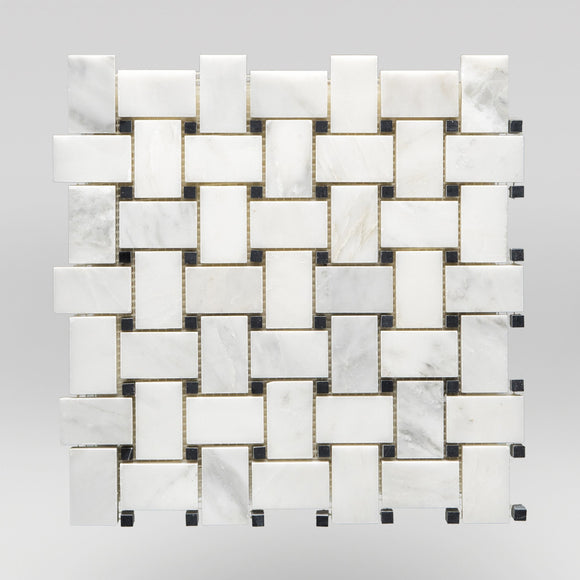 Oriental White/Eastern White Honed Basket Weave with Black Dots Marble Mosaic Basket Weave with Black Dots / Basket Weave with Black Dots / Polished BigAppleMarble.com