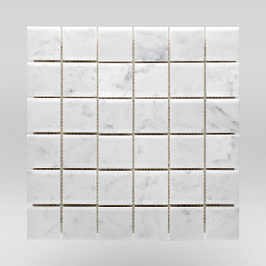 "Oriental White/Eastern White Polished 2""x2"" Marble Mosaic 2""x2"" / Square / Polished BigAppleMarble.com"