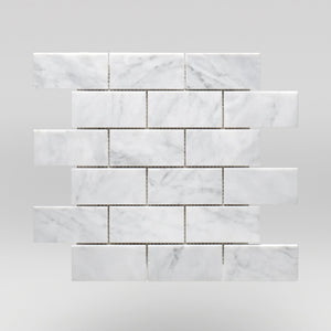 "Oriental White/Eastern White Polished 2""x4"" Marble Mosaic 2""x4"" / Brick / Polished BigAppleMarble.com"