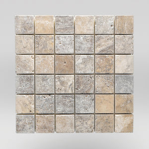 "Silver Travertine Tumbled 2""x2"" Mosaic - BigAppleMarble.com"