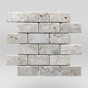 "Silver Travertine Tumbled 2""x4"" Travertine Mosaic - BigAppleMarble.com"