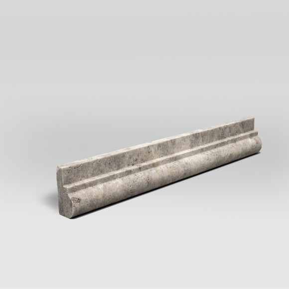 Silver Travertine Tumbled Honed Ogee1 Chair Rail Moulding - BigAppleMarble.com