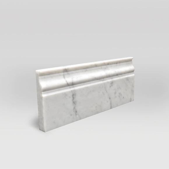 White Carrara Honed Base Marble Moulding Base - BigAppleMarble.com