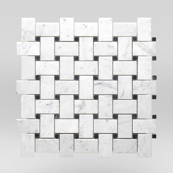 White Carrara Honed Basket Weave with Black Dots Marble Mosaic Basket Weave with Black Dots / Basket Weave with Black Dots / Polished BigAppleMarble.com