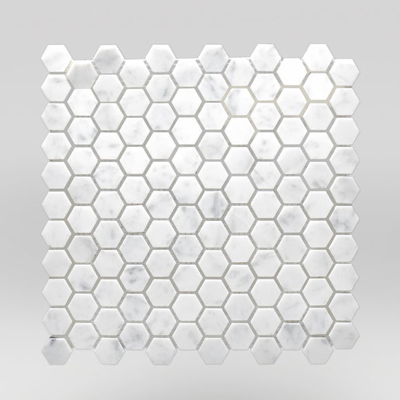 White Carrara Honed Hexagon 1
