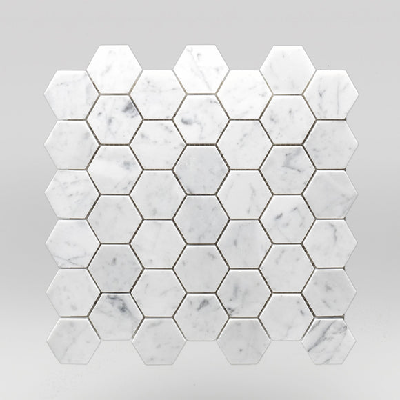 White Carrara Honed Hexagon 2