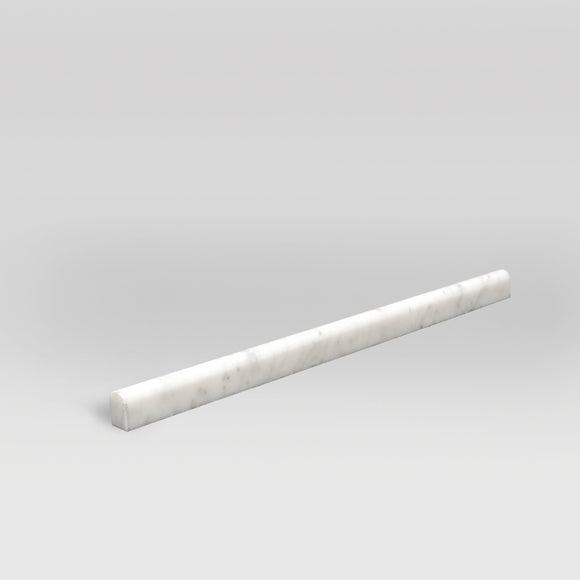 White Carrara Honed Pencil  1/2