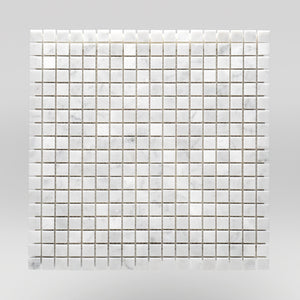 "White Carrara Polished 5/8""x5/8"" Marble Mosaic 1""x1"" / Square / Polished BigAppleMarble.com"