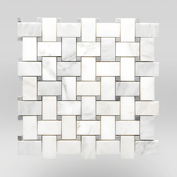 White Carrara Polished Basket Weave with Bardiglio Dots Marble Mosaic Basket Weave with Bardiglio Dots / Basket Weave with Bardiglio Dots / Polished BigAppleMarble.com