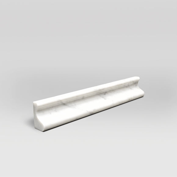 White Carrara Polished Chair Rail Marble Moulding - BigAppleMarble.com