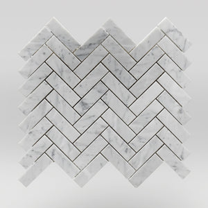 "White Carrara Polished Herringbone 1""x3"" Marble Mosaic 1""x3"" / Herringbone / Polished BigAppleMarble.com"