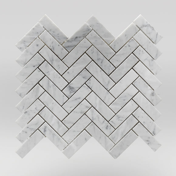 White Carrara Polished Herringbone 1