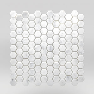 "White Carrara Polished Hexagon 1"" Marble Mosaic 1"" / Hexagon / Polished BigAppleMarble.com"