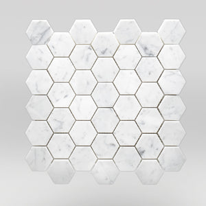 "White Carrara Polished Hexagon 2"" Marble Mosaic 2"" / Hexagon / Polished BigAppleMarble.com"