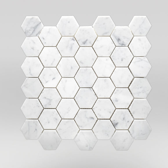 White Carrara Polished Hexagon 2