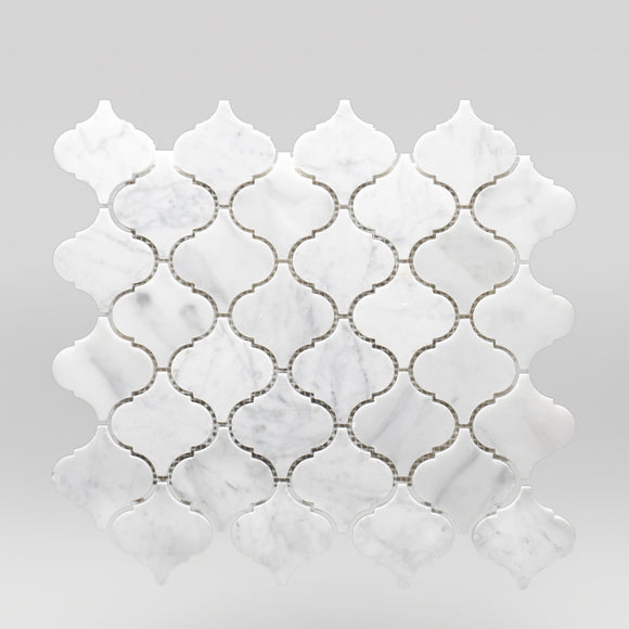 White Carrara Polished Lantern Marble Mosaic Lantern / Lantern / Polished BigAppleMarble.com
