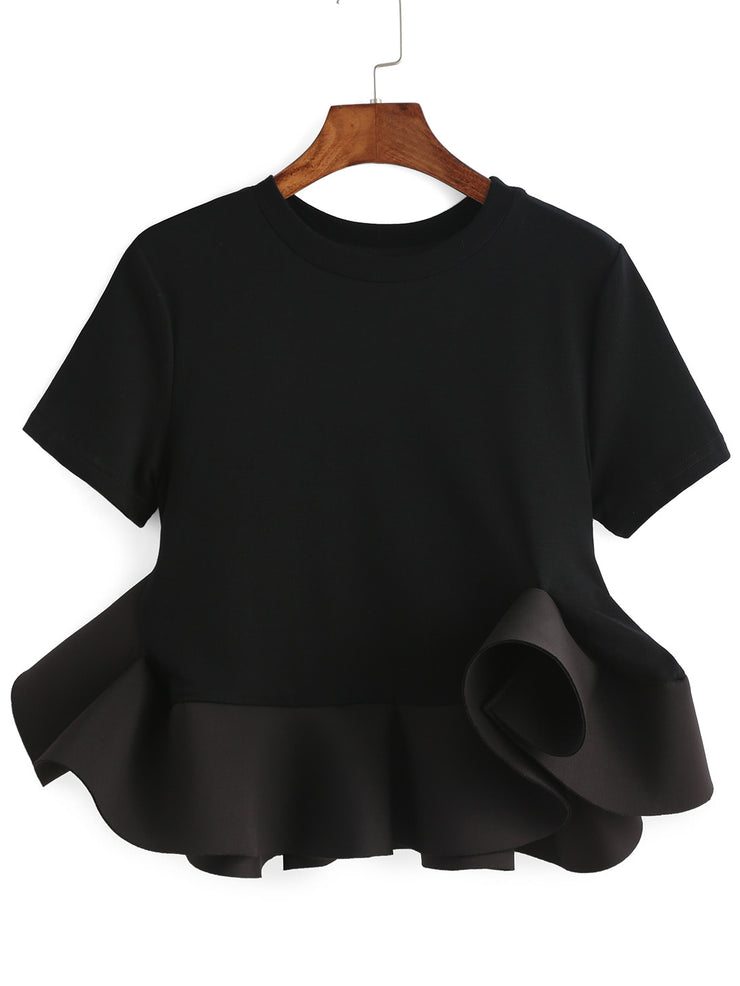 Cat Ruffle Crop Blouse