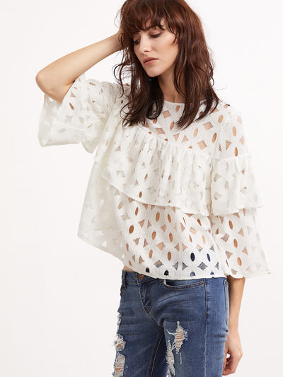 Marshmallow Skies Ruffle Lace Top