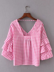 Pink and Brains Plaid Top