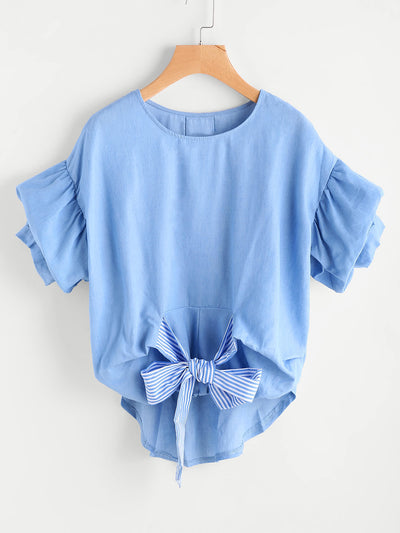Blue Crush Puff Sleeve Blouse