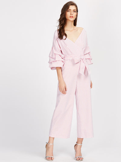 On Wednesdays We Wear Pink Pinstripe Jumpsuit