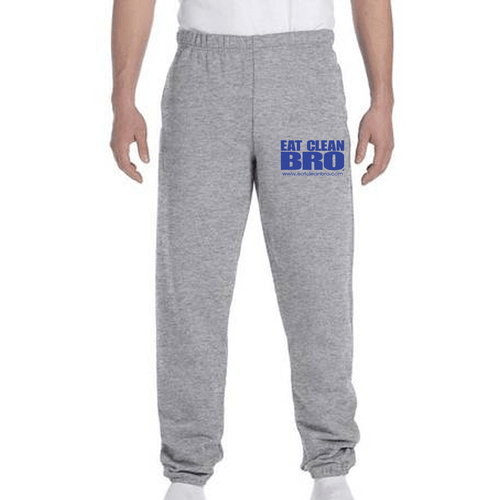 Eat Clean Bro Unisex Fleece Pocketed Sweatpants - Oxford Grey