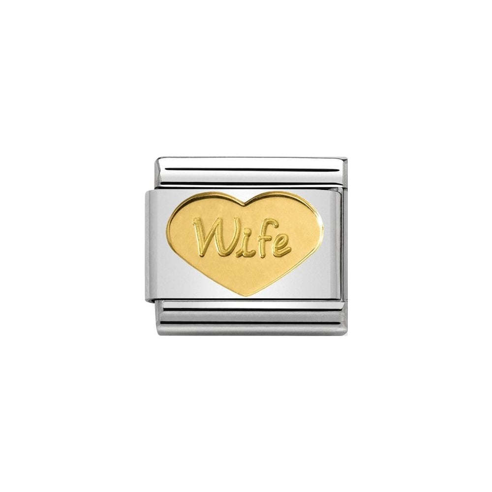 Nomination Classic Gold Wife Heart Charm - S&S Argento