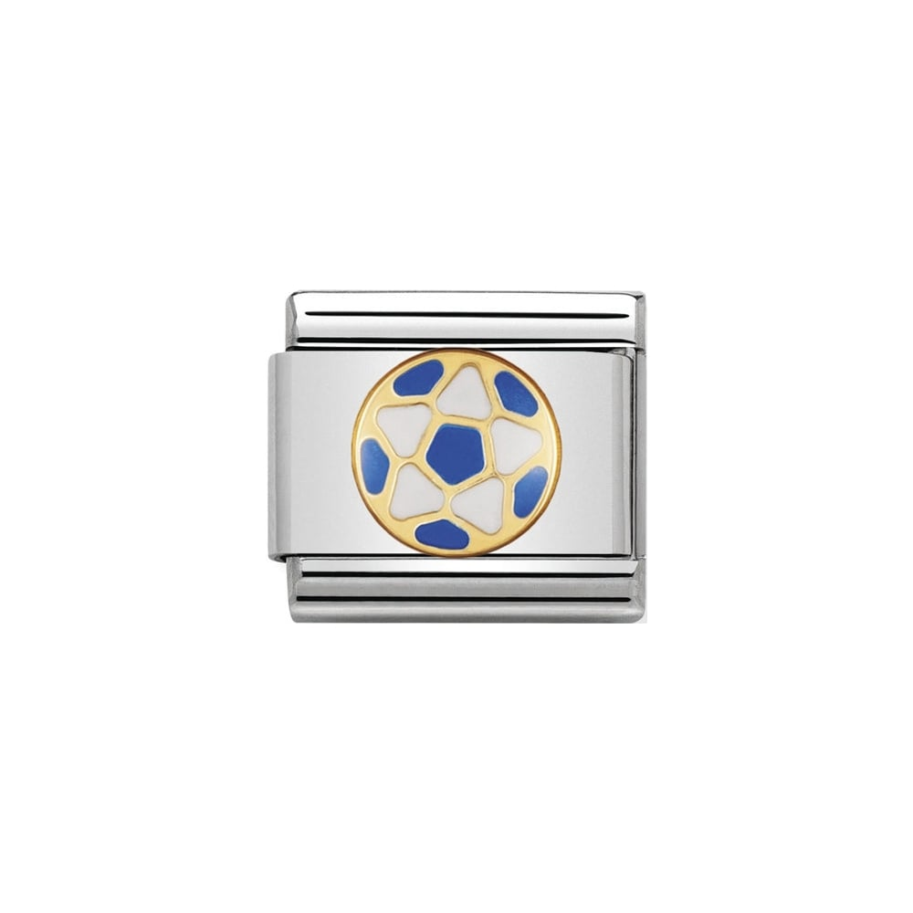 Nomination Classic Gold White & Sky Blue Football Charm - S&S Argento