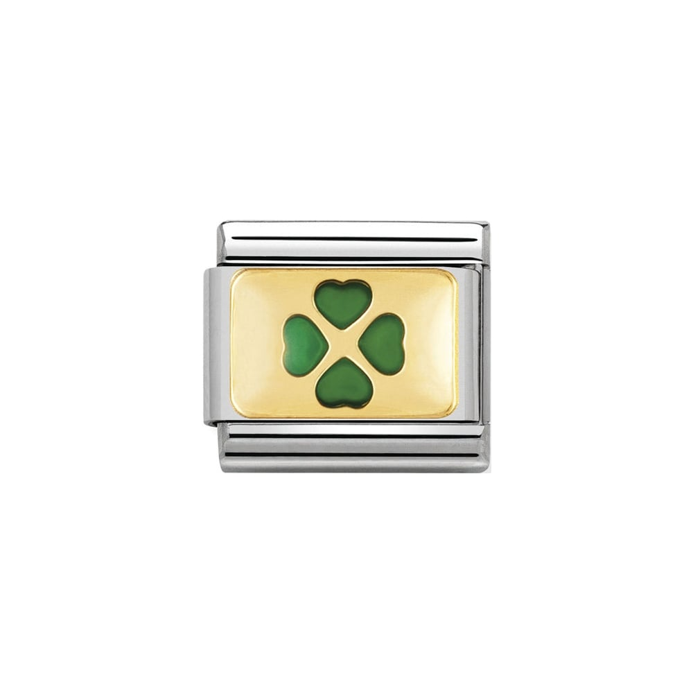 Nomination Classic Gold & Green Four Leaf Clover Plate Charm - S&S Argento