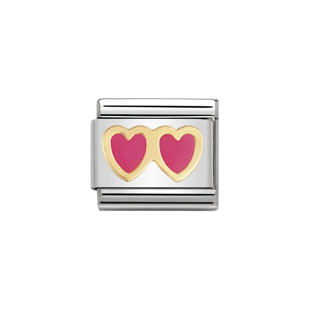 Nomination Classic Gold & Pink Double Heart Charm - S&S Argento