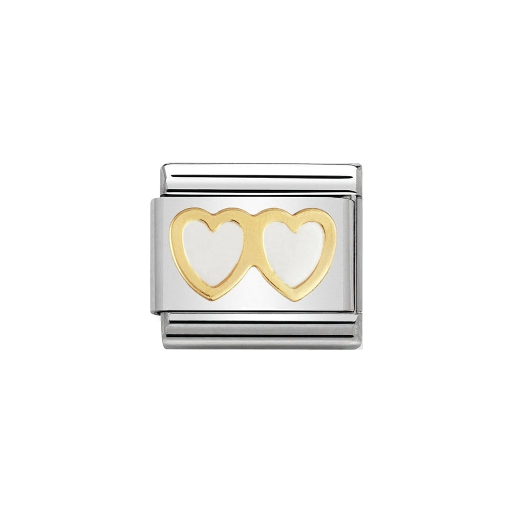 Nomination Classic Gold & White Double Heart Charm - S&S Argento