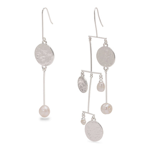 Pilgrim Ama Asymmetrical Pearl Drop Earrings