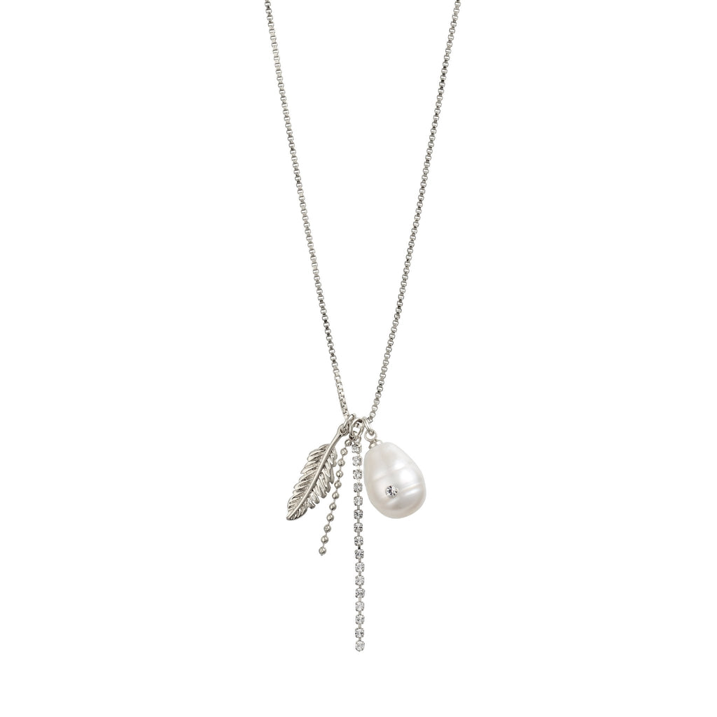 Pilgrim Silver Necklace White Pearl, Feather and Cubic Zirconia - S&S Argento