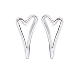 Silver Classic Open Heart Stud Earrings 1800491