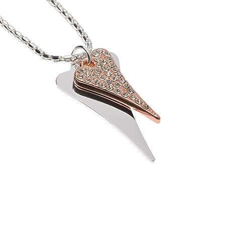 Two-Tone Silver/Rose (Long) Double Heart Necklace - MD1800557