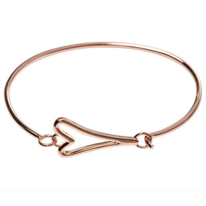 Rose Plain Heart Cuff Bangle - MD1800568