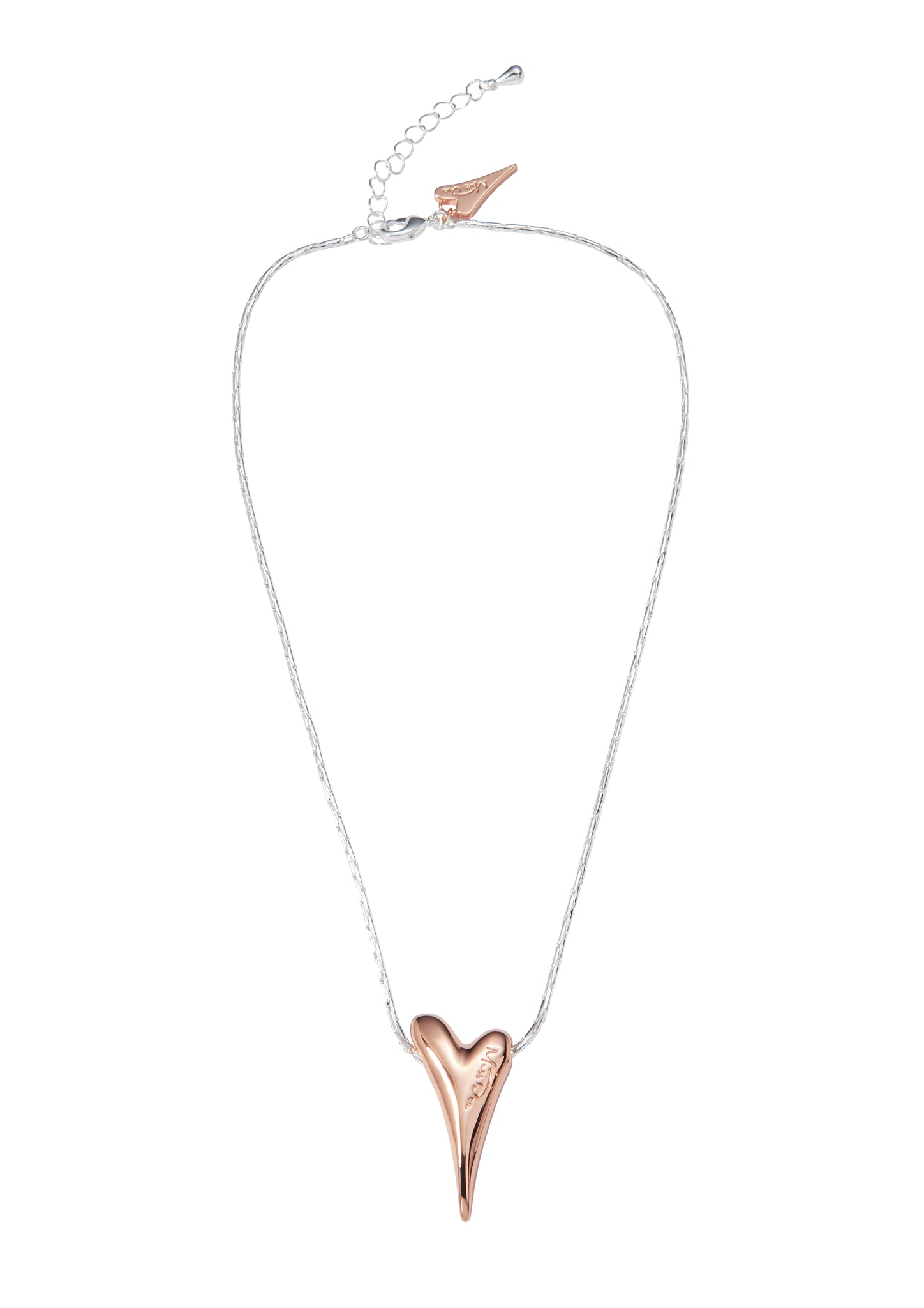 Two-Tone Silver/Rose Heart Necklace - MD1800664