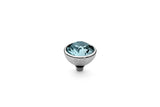 Stainless Steel Bottone 10mm Aquamarine - S&S Argento